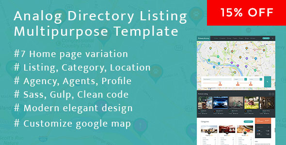 Analog Directory Listing Multipurpose Bootstrap Responsive Template + RTL - Corporate Site Templates