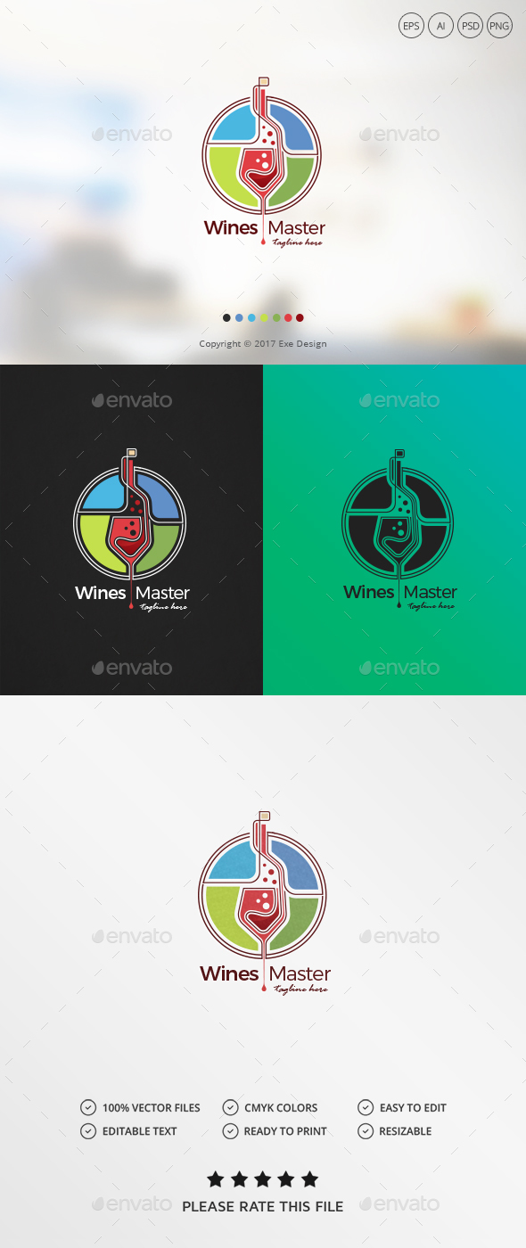Wine Logo - Food Logo Templates