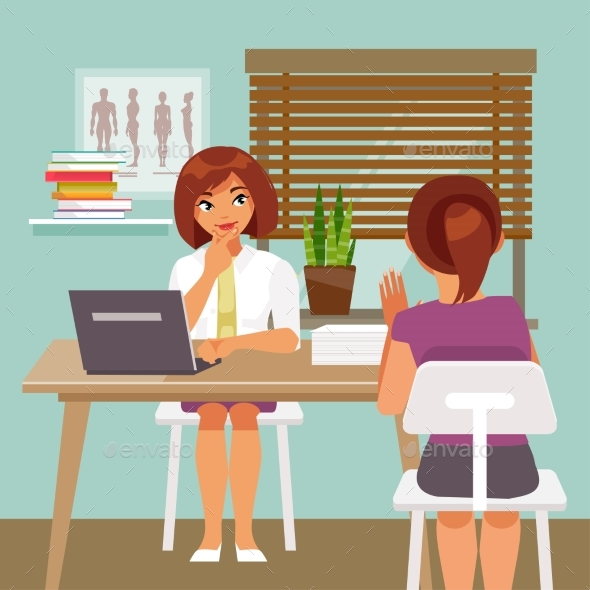 Woman on Reception at the Doctor - Health/Medicine Conceptual
