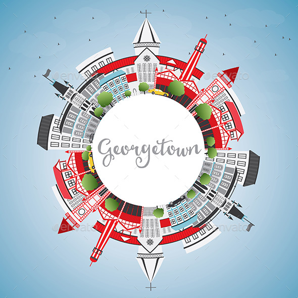 Georgetown Skyline with Gray Buildings, Blue Sky and Copy Space. - Buildings Objects