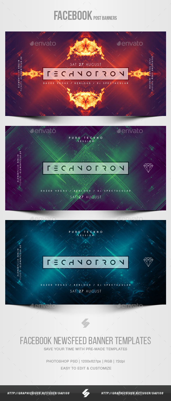 Electronic Music Party vol.23 - Facebook Post Banner Templates - Social Media Web Elements