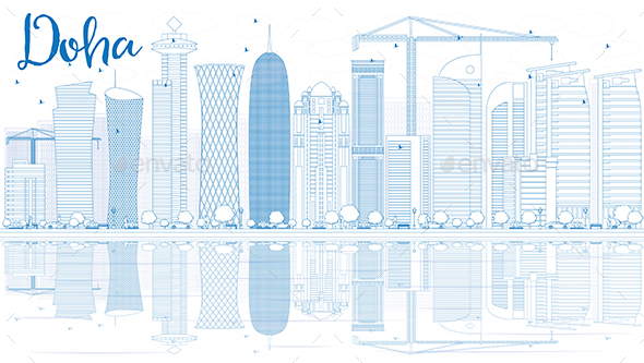 Outline Doha Skyline with Blue Skyscrapers - Buildings Objects