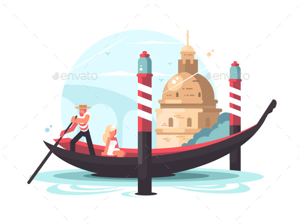 Gondolier Transports Woman in Gondola - Miscellaneous Vectors