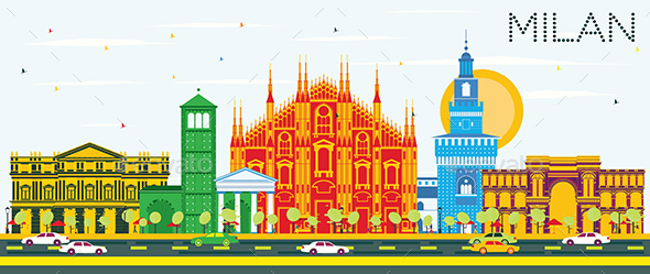 Milan Skyline with Color Landmarks and Blue Sky. - Buildings Objects