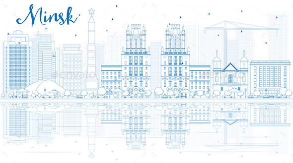 Outline Minsk Skyline with Blue Buildings and Reflections. Vector - Buildings Objects