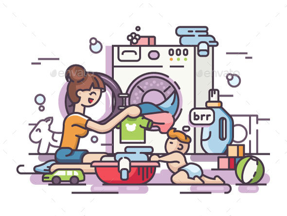 Young Mother Washing - People Characters
