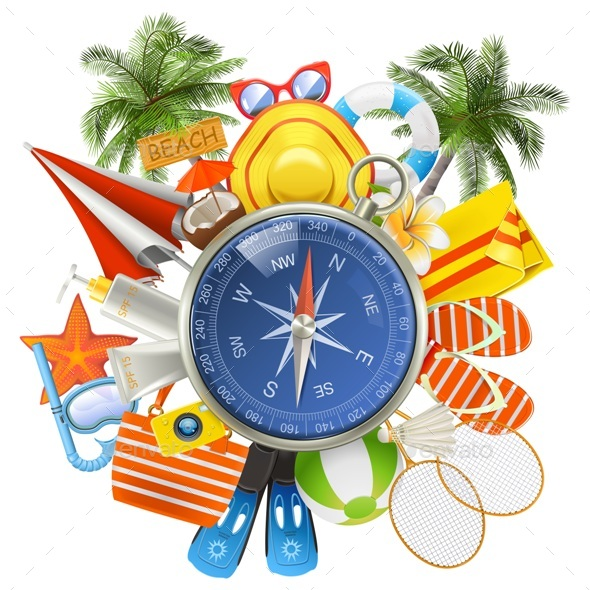 Vector Beach Accessories with Compass - Travel Conceptual