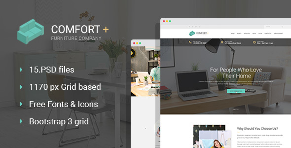 Comfort+ – Furniture/Interior Design PSD Template
