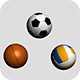 Three Sport Balls: Football, Volleyball and Basketball - 3DOcean Item for Sale