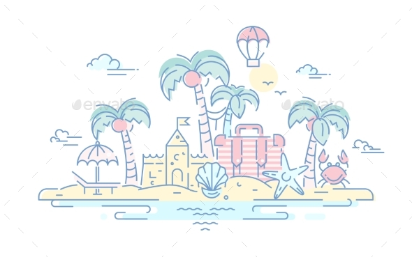 At the Seaside - Vector Line Travel Illustration - Travel Conceptual