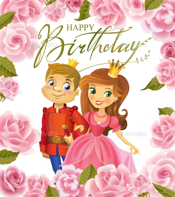 Happy Birthday, Princess and Prince, Greeting Card - People Characters