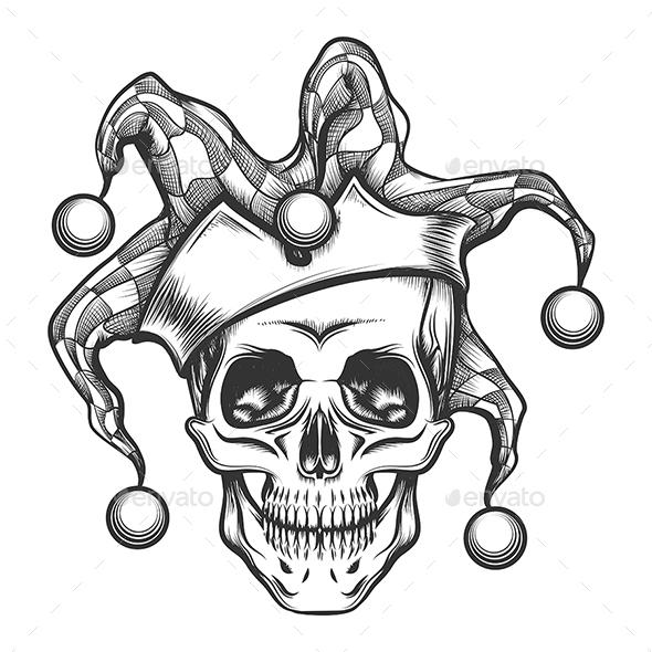 The Skull in Joker Cap - Tattoos Vectors