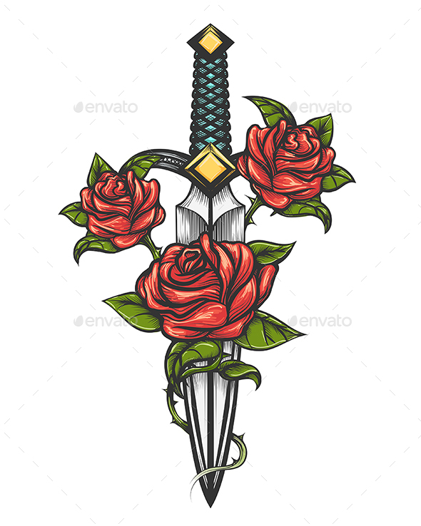 Dagger Knife and Rose Flowers Drawn in Tattoo Style - Tattoos Vectors