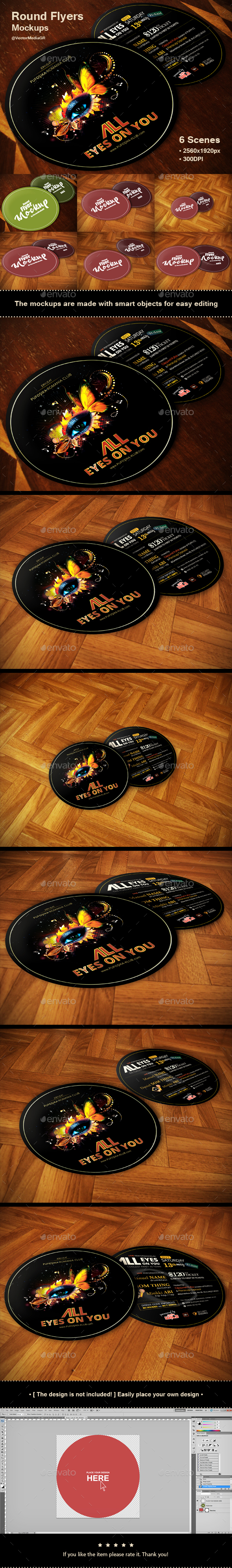 Round Flyers - Mockups - Flyers Print