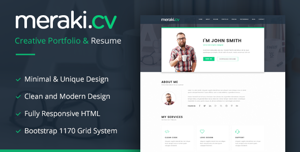 Meraki One Page Resume WordPress Theme - Portfolio Creative