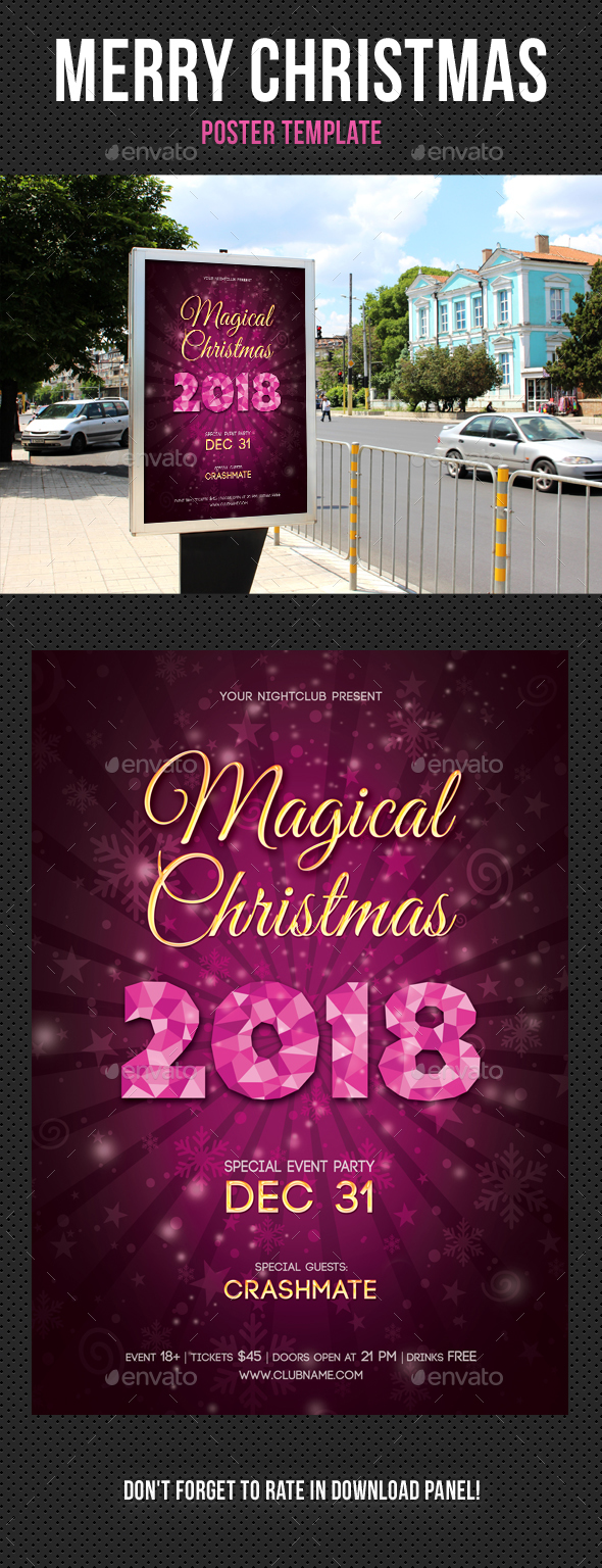 Merry Christmas Poster Template V03 - Signage Print Templates