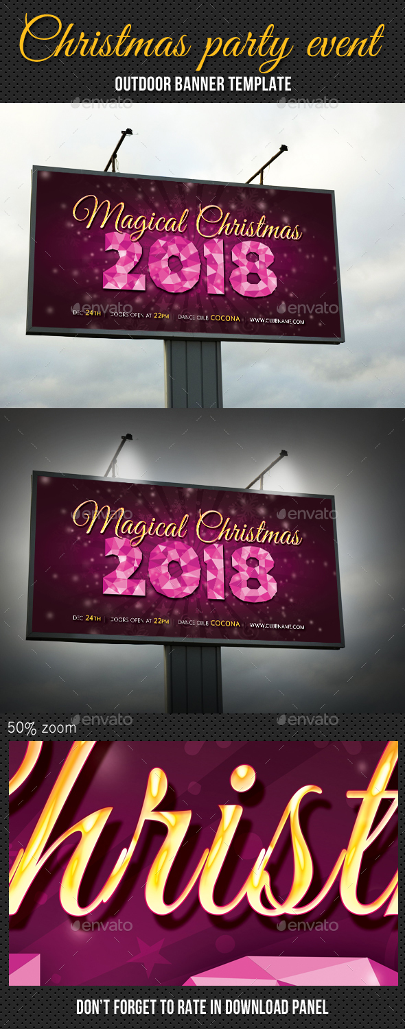 Christmas Party Outdoor Banner 03 - Signage Print Templates