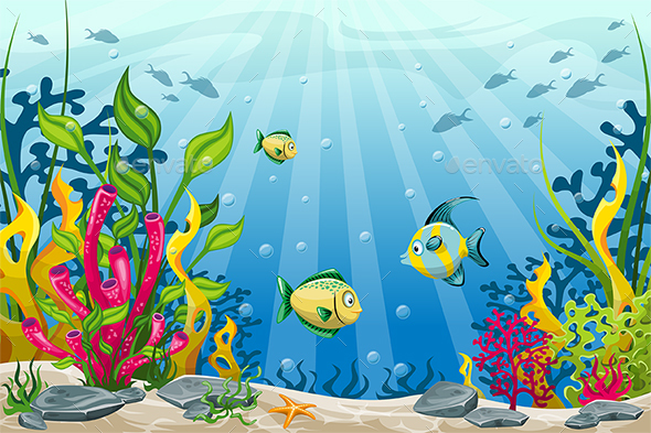 Illustration of Underwater Landscape with Fishes - Landscapes Nature
