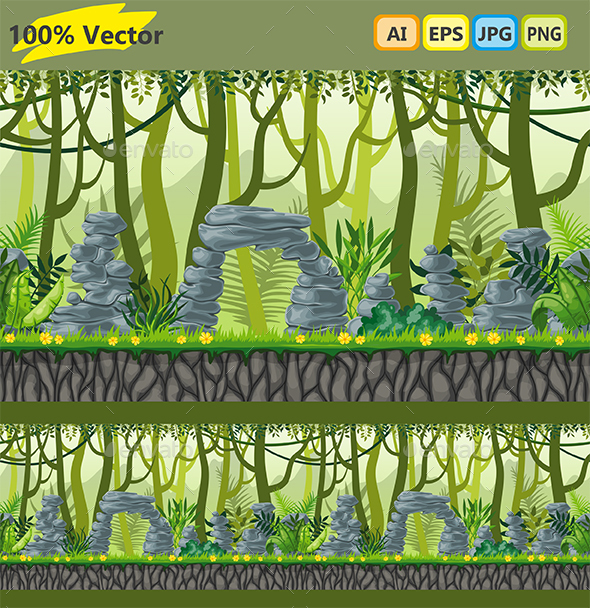 Seamless Jungle Landscape with Separate Layers - Landscapes Nature