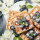 Belgian waffles with blueberries for breakfast - PhotoDune Item for Sale