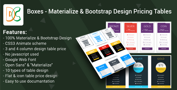 Boxes - Materialize & Bootstrap Design Pricing Tables - CodeCanyon Item for Sale
