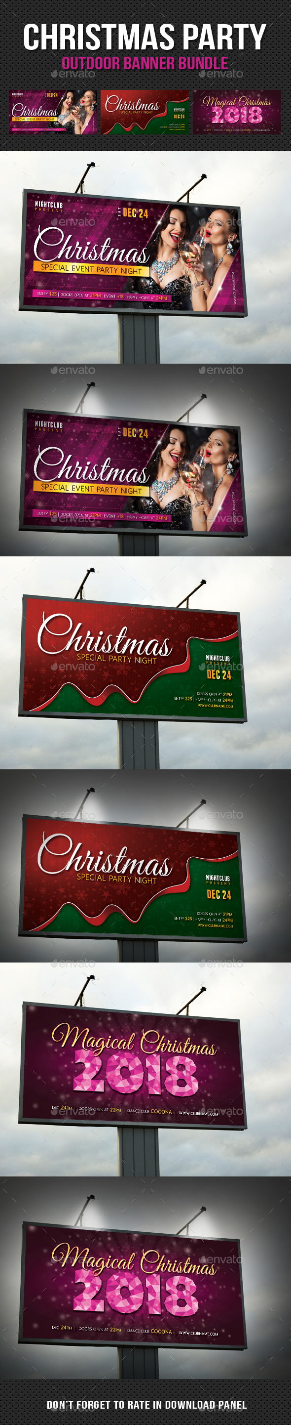 3 in 1 Christmas Party Outdoor Banner Bundle - Signage Print Templates