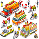 Food Truck Van Hot Dog Delivery Vector Isometric Vehicle Set