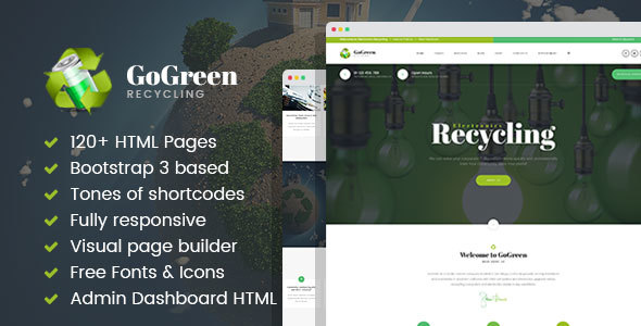 GoGreen – Waste Management and Recycling HTML Template with Builder