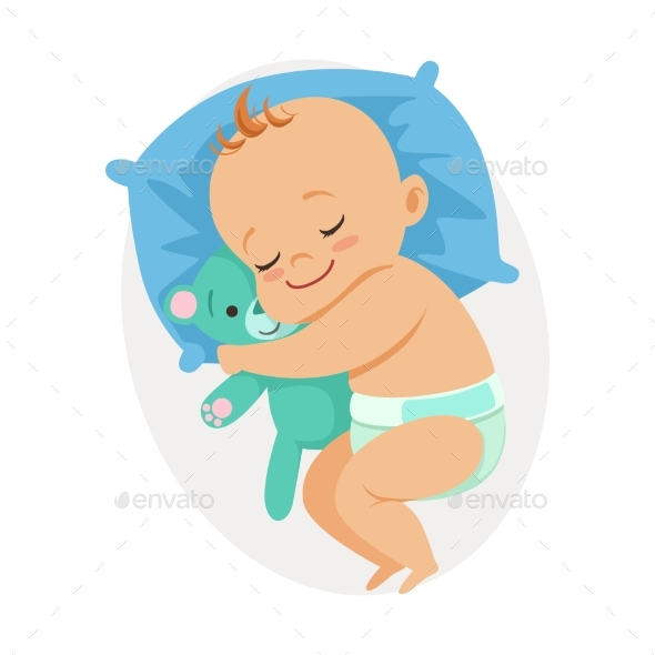 Baby Sleeping in His Bed and Hugging Bear - People Characters