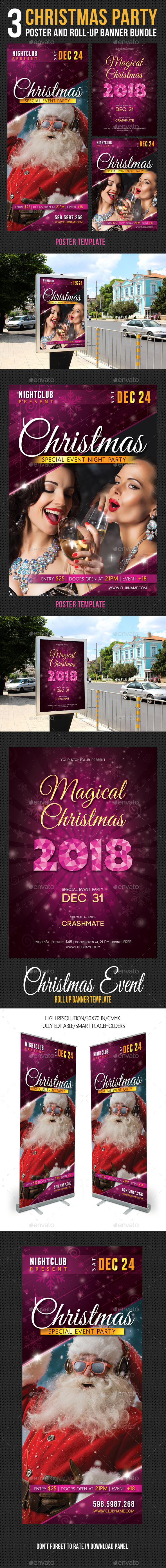 3 in 1 Christmas Party Poster Banner Bundle - Signage Print Templates