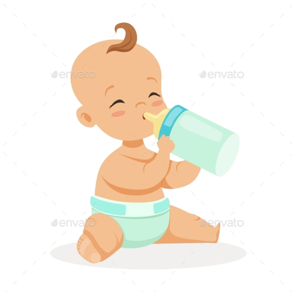 Baby Sitting and Drinking Milk - People Characters