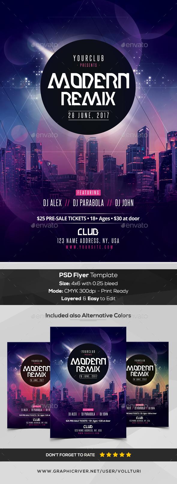 Modern Remix - PSD Flyer Template - Flyers Print Templates