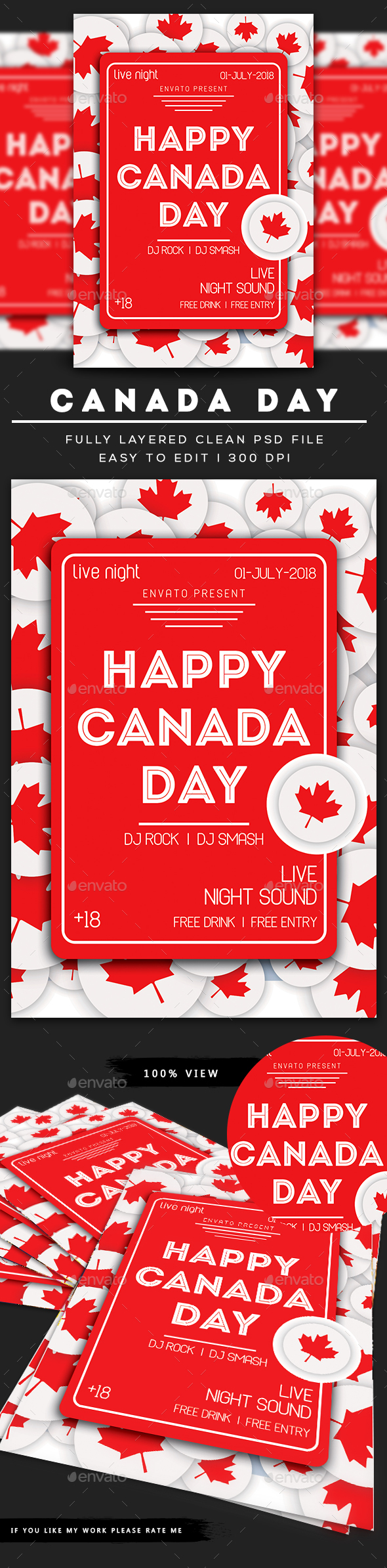 Canada Day Flyer Template - Clubs & Parties Events