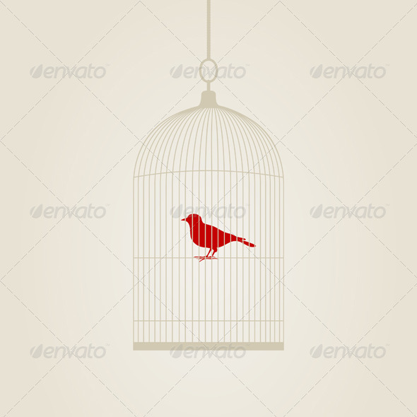 Birdie in a cage - Animals Characters