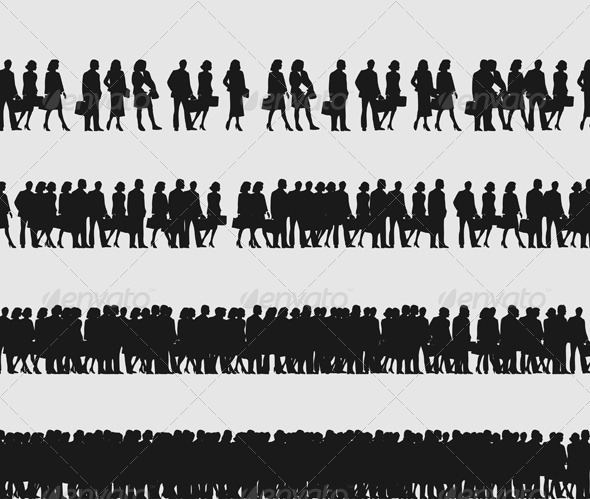 Crowd of managers - People Characters