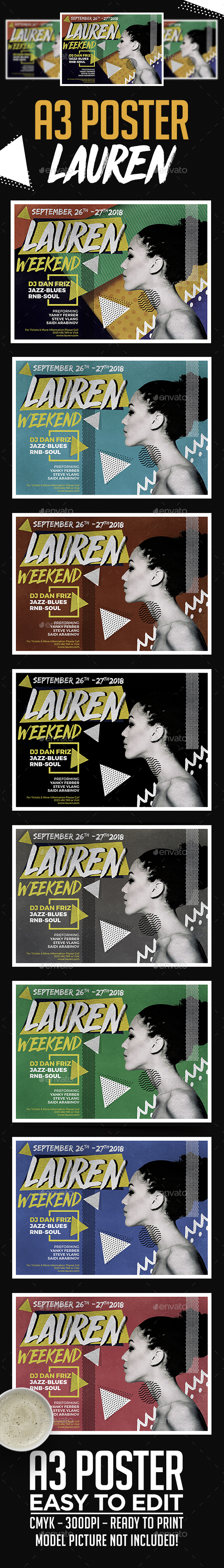 A3 Lauren Poster Art Template - Clubs & Parties Events