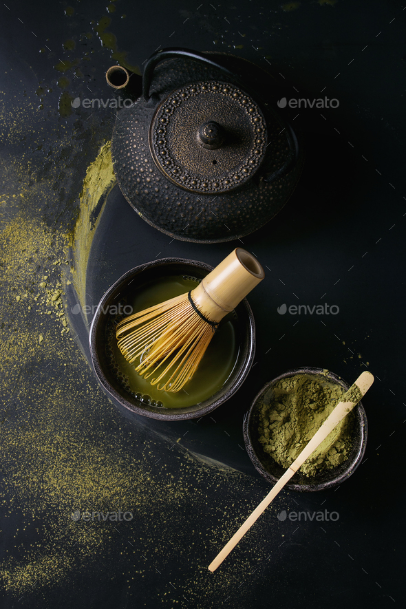 Green tea matcha powder and drink - Stock Photo - Images