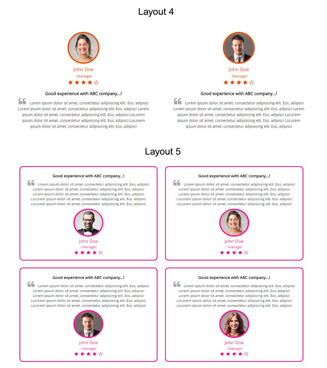Bootstrap Testimonials Showcase