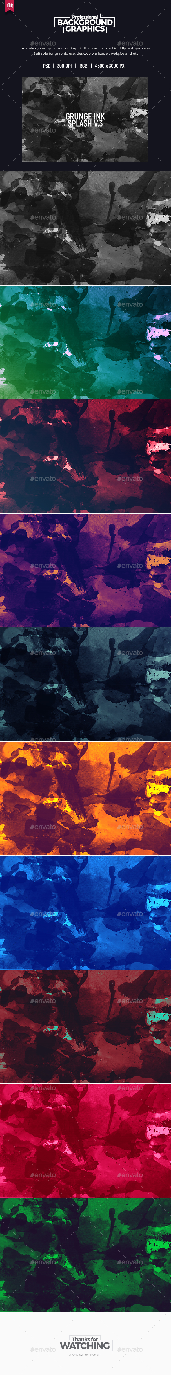 Grunge Ink Splash - Background - Abstract Backgrounds