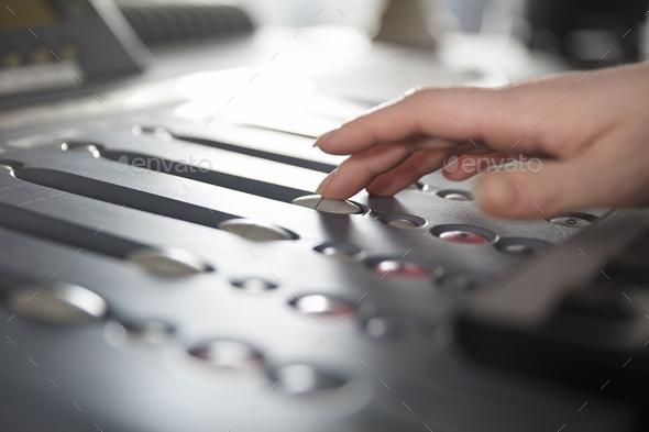 Radio Host Using Music Mixer In Studio - Stock Photo - Images