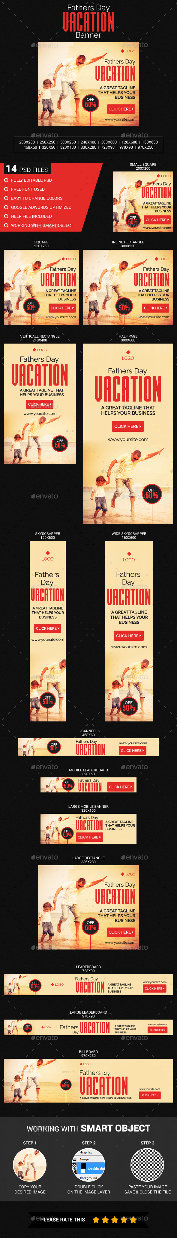Fathers Day Vacation - Banners & Ads Web Elements