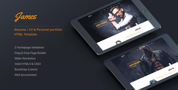 James - Resume/CV & Personal portfolio HTML Template