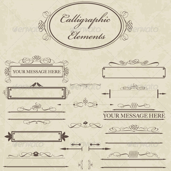 Calligraphic Elements - Decorative Symbols Decorative