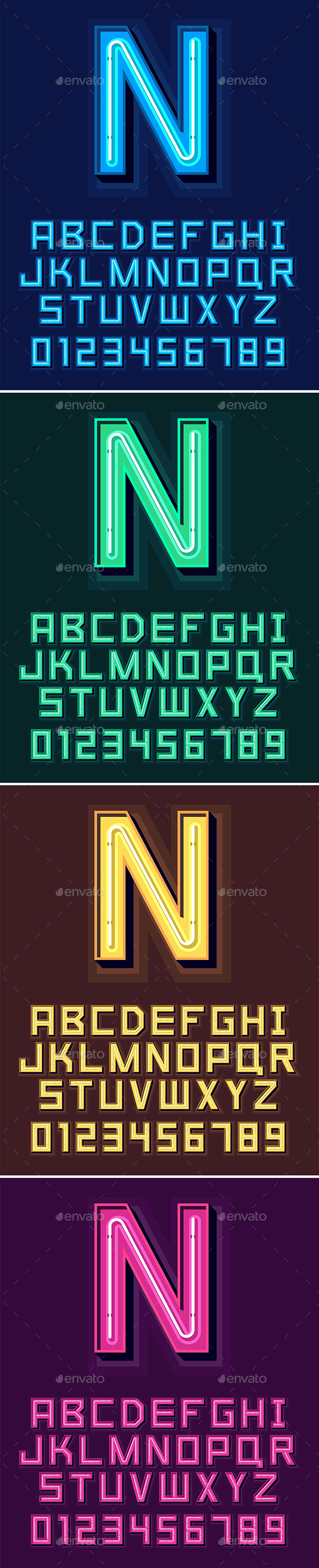 Neon Light Alphabet Font - Decorative Symbols Decorative