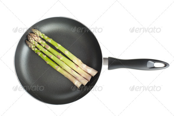 asparagus on pan - Stock Photo - Images