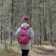 Fall Woman Backpacker Hiking on the Path in the Forest Mountains During Autumn. 20s . - VideoHive Item for Sale