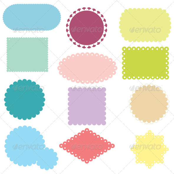 Colorful Labels Set - Decorative Symbols Decorative