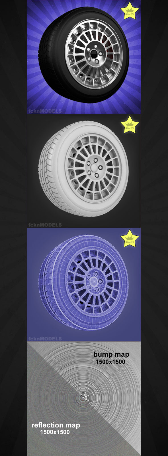High detailed 3D model of car wheel 07 - 3DOcean Item for Sale