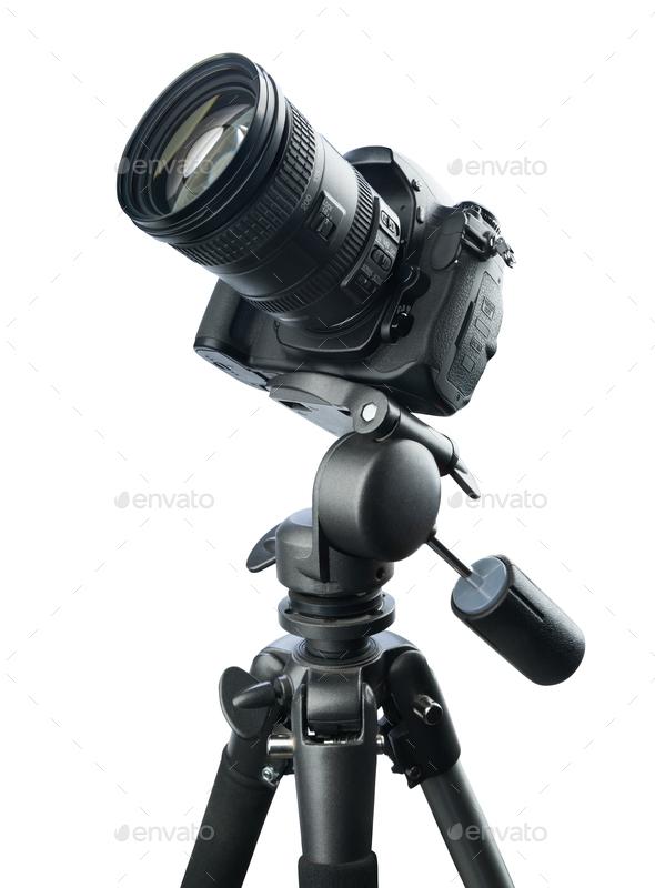 DSLR camera on tripod, isolated on white background - Stock Photo - Images
