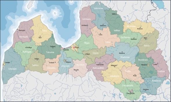 Map of Latvia - Miscellaneous Vectors